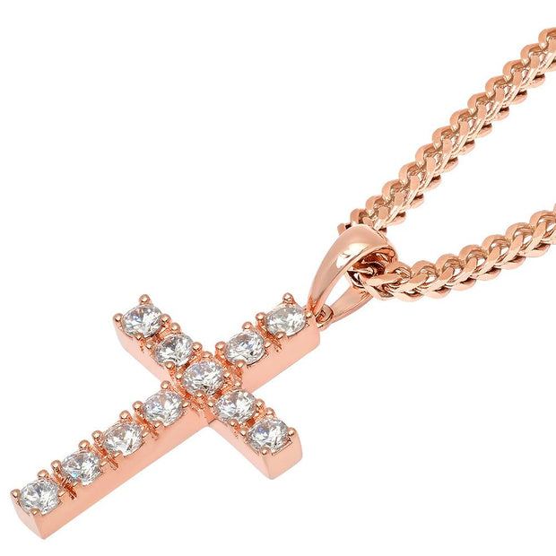 VESSO micro diamond cross necklace rose gold jewelry rose gold TheDrop