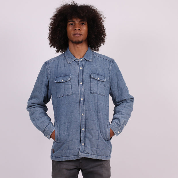 Unitryb the union pufffa quilt shirt jacket washed denim button down shirts TheDrop