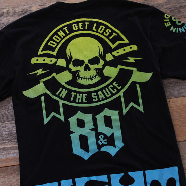8 9 MFG Co. lost in the sauce jersey tee black tees TheDrop