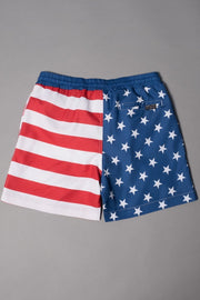 Brooklyn Cloth boys stars and stripes swim trunks kids shorts red TheDrop