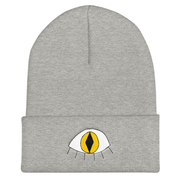Chaos of the Muse 3rd eye cat cuffed beanie hats and beanies white TheDrop