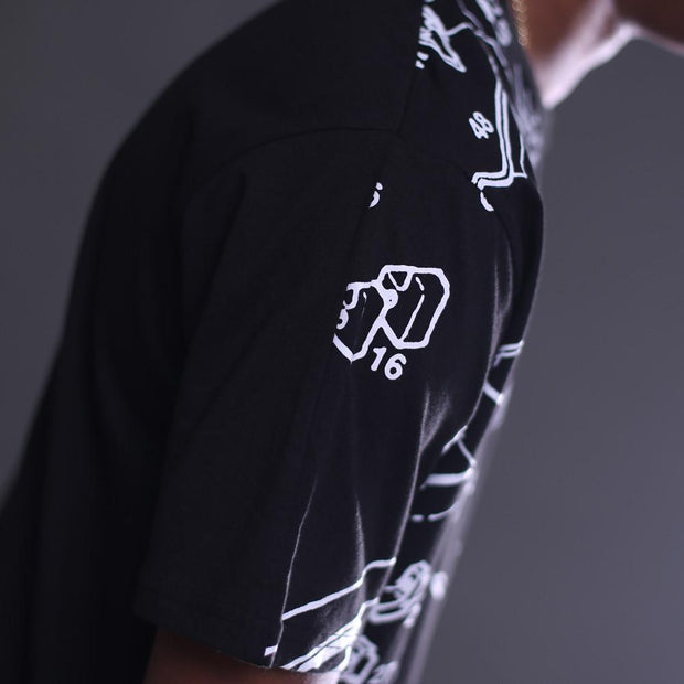 8 9 MFG Co. deconstructed mac curved hem tee black tees TheDrop