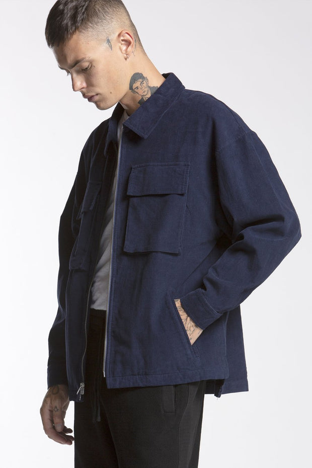 CANDOR Official corduroy zip overshirt blue jackets and outerwear TheDrop