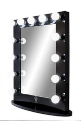 Upright Lighted Hollywood Mirror with Dimmer :: IMPACT Series ------ Black or White