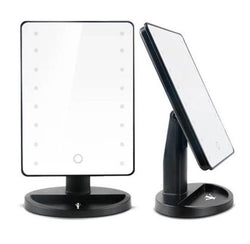 Black LED Lighted Cosmetic Makeup Mirror :: CURV Series