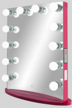 Upright Hollywood Frameless Mirror with Bluetooth® &Touch Screen Dimmer :: FOREVER Series (Crimson Rose)