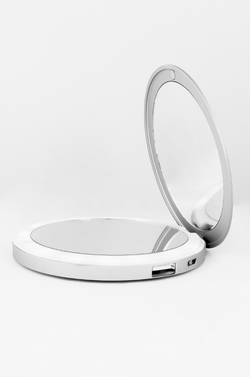 Silver Charm LED Lighted Portable Charger Compact Mirror :: CHARM BEYOND Series