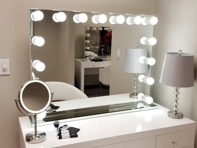 2 Piece Set - XXL Wide Hollywood Mirror & GLASS TOP Vanity ----------------- (Store Pick UP ONLY)
