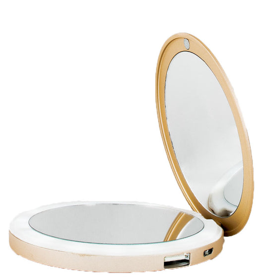 Sand Gold LED Lighted Portable Charger Compact Mirror :: CHARM BEYOND Series