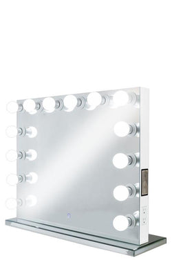 XL Wide Hollywood Frameless Mirror with Speakers & Dimmer :: FOREVER Series