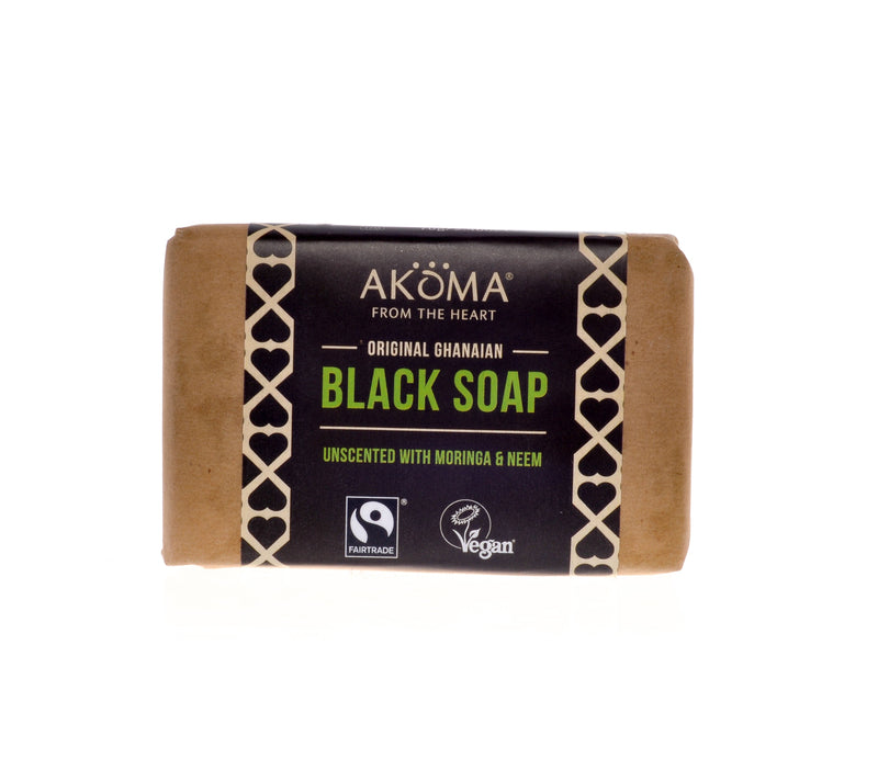 Akoma Black Soap (Bar) Enriched with Moringa, Neem (Unscented)