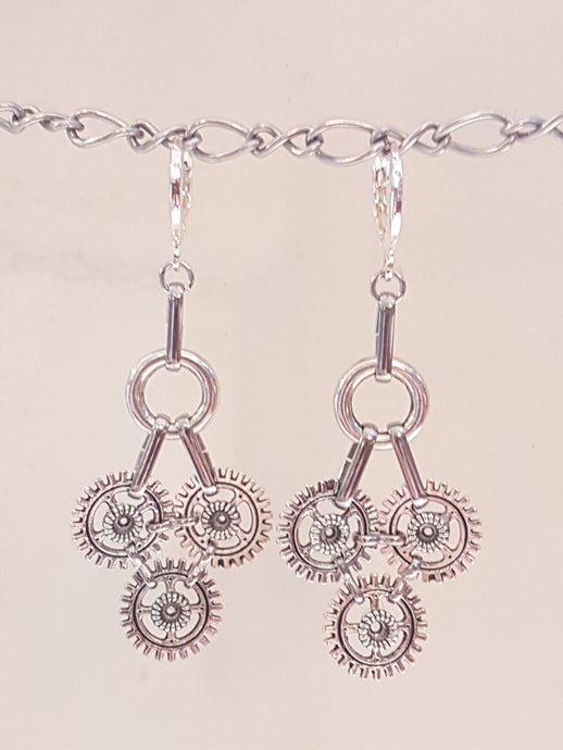 3 Small Gear Pyramid Earrings