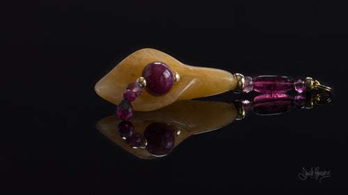 Ruby, Rubellite, Tourmaline, Almondine, 14K Gold and natural Jade Flower Pendant XOD Jewellery