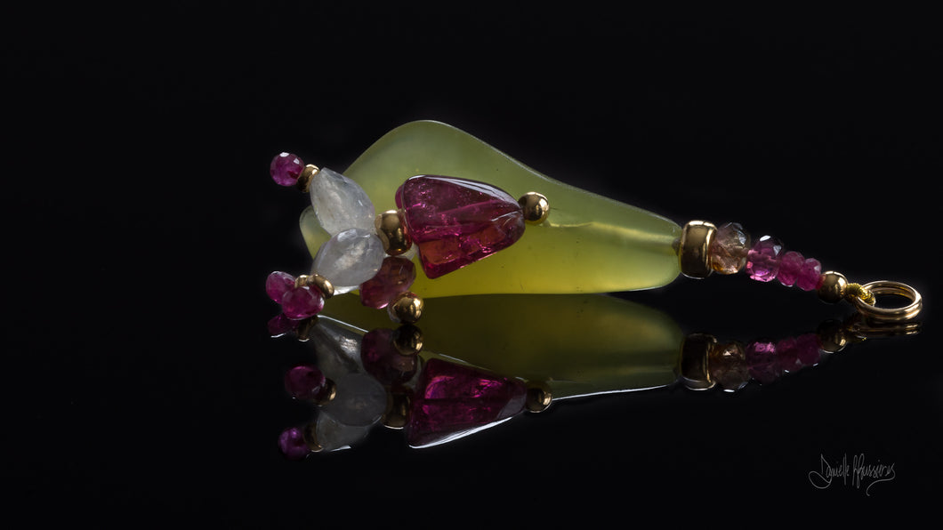 xod jewellery Green Jade, Rubellite, Ruby, Moonstone, Tourmaline and 14K Gold Flower Pendant