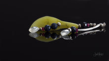 xod jewellery Sapphire, Ruby, Rainbow Moonstone, with Natural Green Jade and Flower Bud