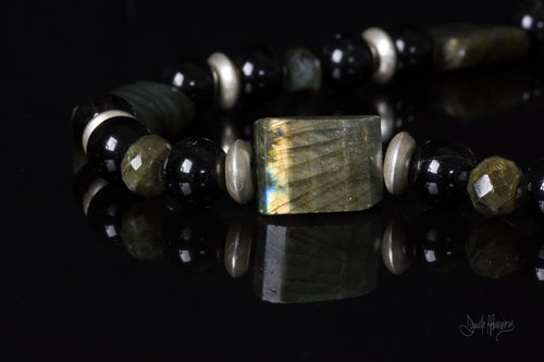 XOD Jewellery Labradorite and Black Tourmaline Necklace with Sterling Silver