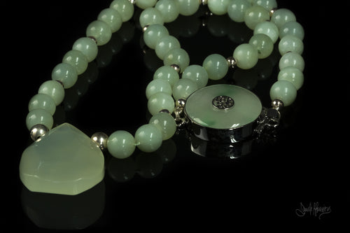 XOD Jewellery Bowenite, Jade and Sterling Silver Necklace