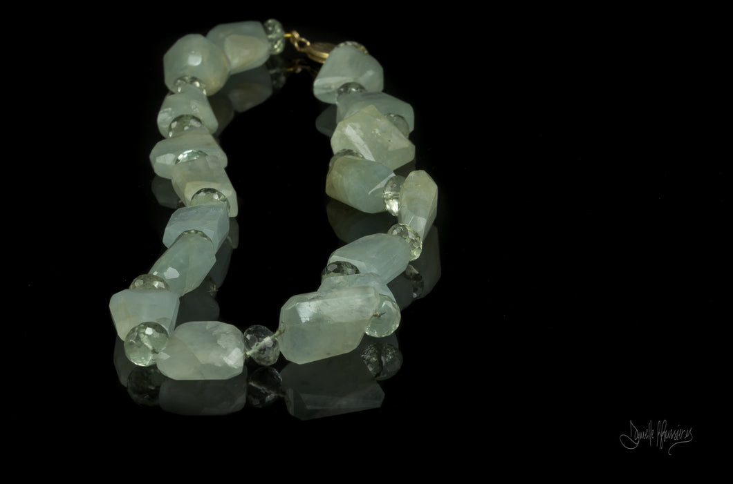 XOD Jewellery Aquamarine and Green Amethyst with 14K Gold necklace