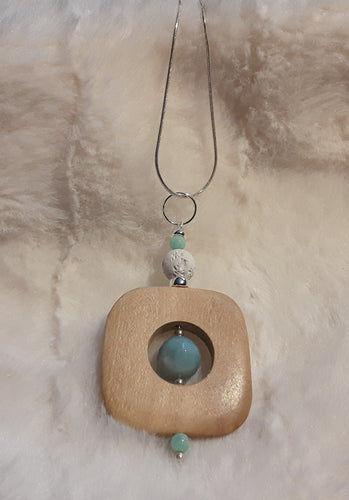 Wood, White Lava,  Peruvian Opal,  Amazonite and Sterling Silver pendant