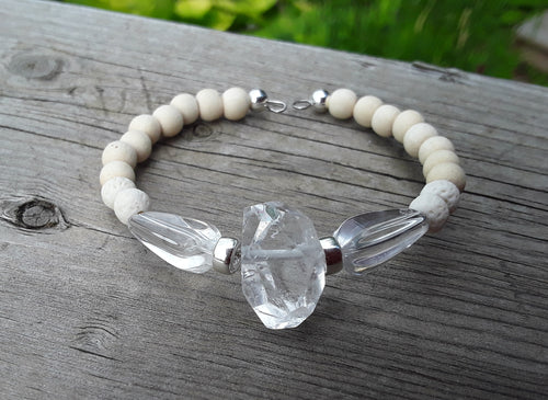 Quartz, White wood, White Lava and Sterling Silver bracelet
