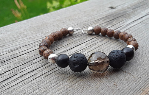 Wenge Wood, Smokey Quartz, Black Lava, Onyx and Sterling Silver diffuser bracelet