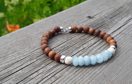 Aquamarine, Teak wood   White Lava and Sterling Silver diffuser bracelet