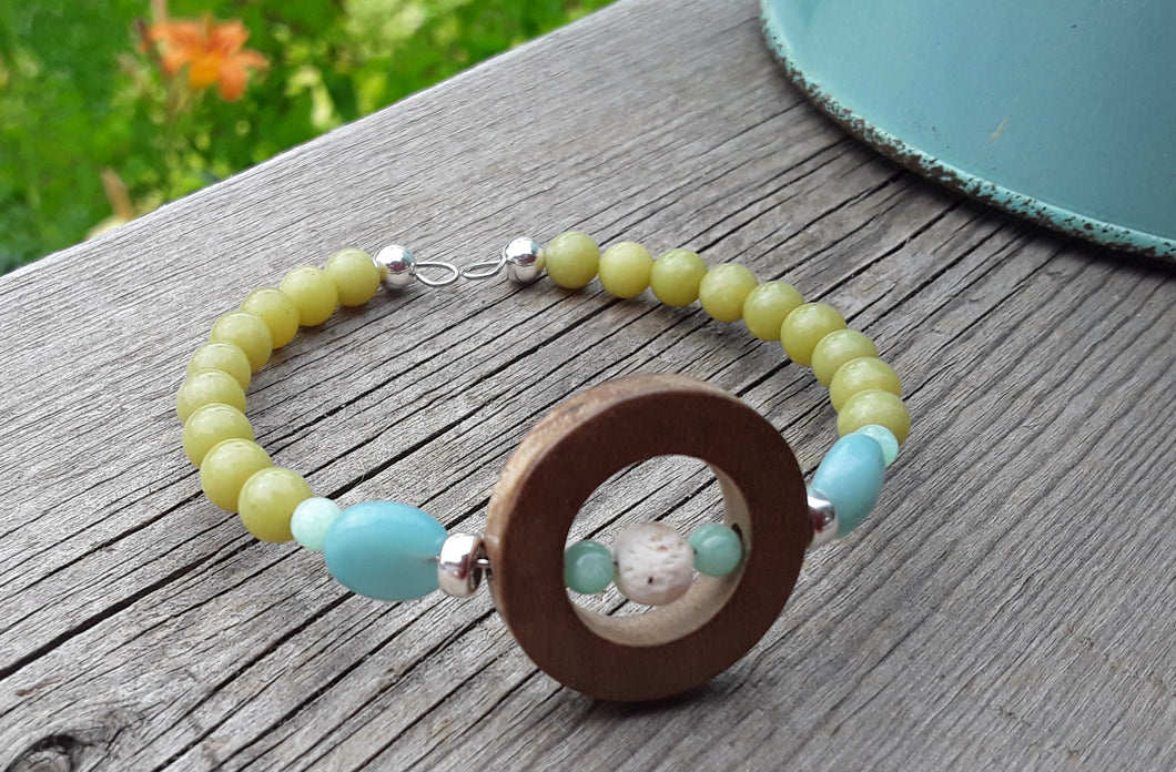 Lemon Jade, Peruvian Opal,  Amazonite, white Lava and wood diffuser bracelet