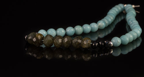 xod jewellery Amazonite, Labradorite, Spinel and Sterling Silver necklace