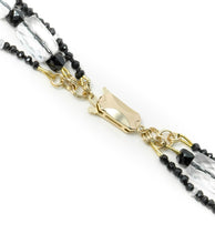 XOD Jewellery Spinel, Cubic Zirconia, Quartz Three-Strand Necklace with14K Gold