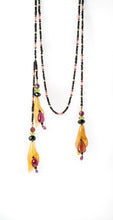 XOD Jewellery Spinel Lariat Necklace with Flower Tassels - Rubellite, Ruby, Citrine and Peridot with 14K Gold