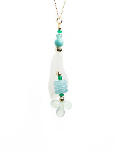 xod jewellery White Jade, Chalcedony, Turquoise, Green Onyx, Apatite and 14K Gold Flower Pendant