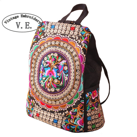 Vintage Embroidery Canvas Backpack - Belleza Obsession