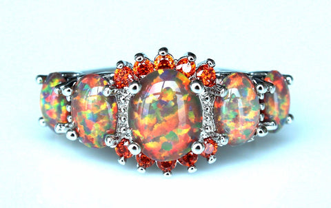 Rainbow Fire Opal Rings - Belleza Obsession