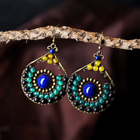 Ethnic Dangle Earrings, Natural Stone - Belleza Obsession