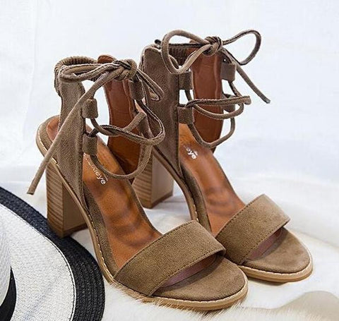 Open Toe Lace-Up Sandal Heels, Variety - Belleza Obsession