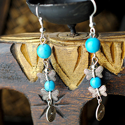 Turquoise Butterfly Dangle Earrings - Belleza Obsession