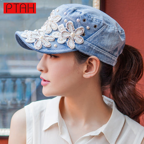 Floral Denim Snapback, Variety - Belleza Obsession