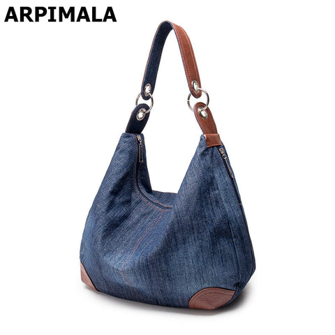 Large Denim Tote Handbag, 2 Styles - Belleza Obsession