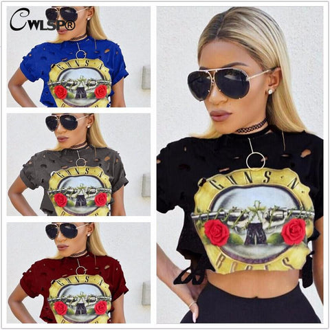 Hollow Out Guns N Roses Crop Top, Variety