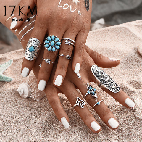 Turquoise Bohemian Ring Set - Belleza Obsession
