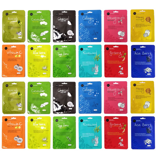 Celavi Essence Facial Mask Paper Sheet Korea Skin Care Moisturizing (24 Pack)