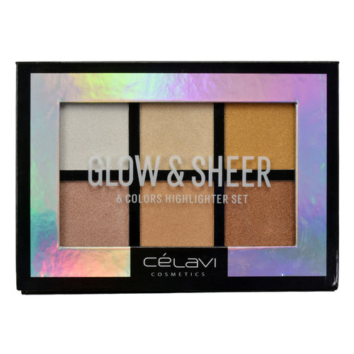 CELAVI GLOW & SHEER HIGH IMPACT COLOR COLLECTION 6 COLORS HIGHLIGHTER SET PALETTE