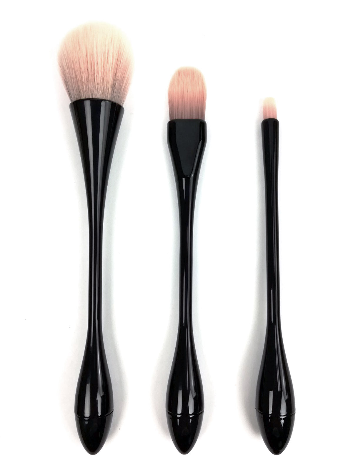 Celavi Essentials Hour Glass Makeup Brush Set Cosmetic Tools for Face (3 Brush Set)
