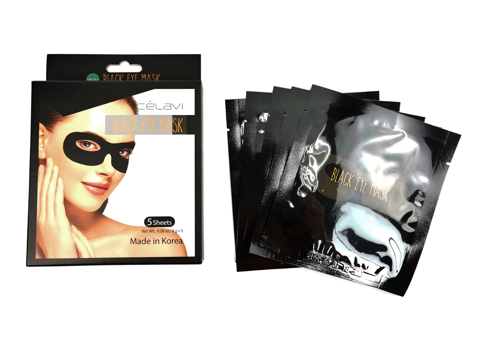 Celavi Moisturizing & Regenerating Black Eye Mask Pack - 5 Sheets (Natural Fruit & Oil Extracts)