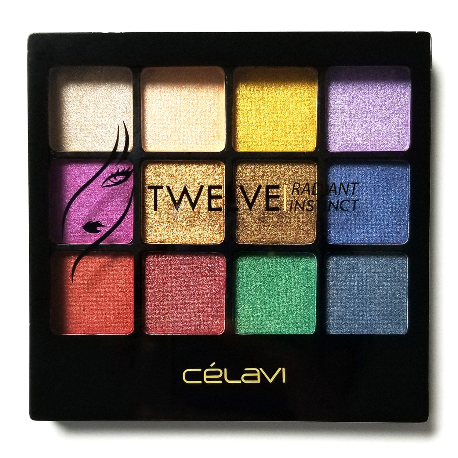 Celavi Twelve Eye Shadow Palette w/ Built in Mirror and Dual Headed Sponge Applicator