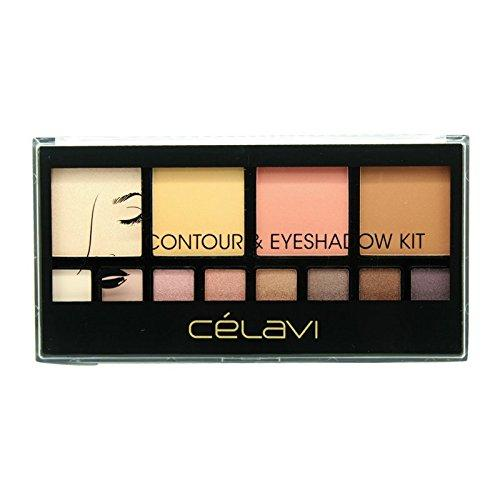 Celavi Absolute Soft-Pressed Face Powder and Eyeshadow Palette w/ Skinny Mirror and Dual Sided Applicator Brush/Sponge-Beauty-Celavi Cosmetics-Contour-Celavi Cosmetics