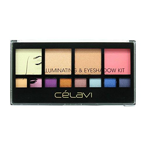 Celavi Absolute Soft-Pressed Face Powder and Eyeshadow Palette w/ Skinny Mirror and Dual Sided Applicator Brush/Sponge-Beauty-Celavi Cosmetics-Illuminating-Celavi Cosmetics