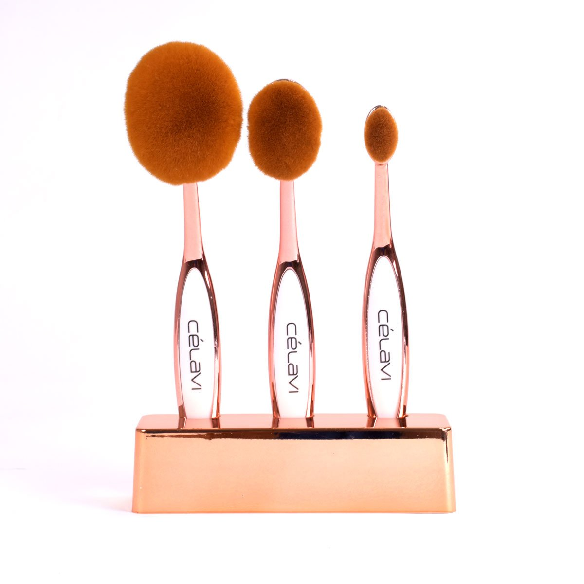 Celavi Oval Makeup Brush Professional Cosmetic Tools for Face, Foundation, Creams, Liquids, Moisturizer, Powder, Blush, Concealer, Contour-Beauty-Celavi Cosmetics-3 Brush Set-Bronze-Celavi Cosmetics