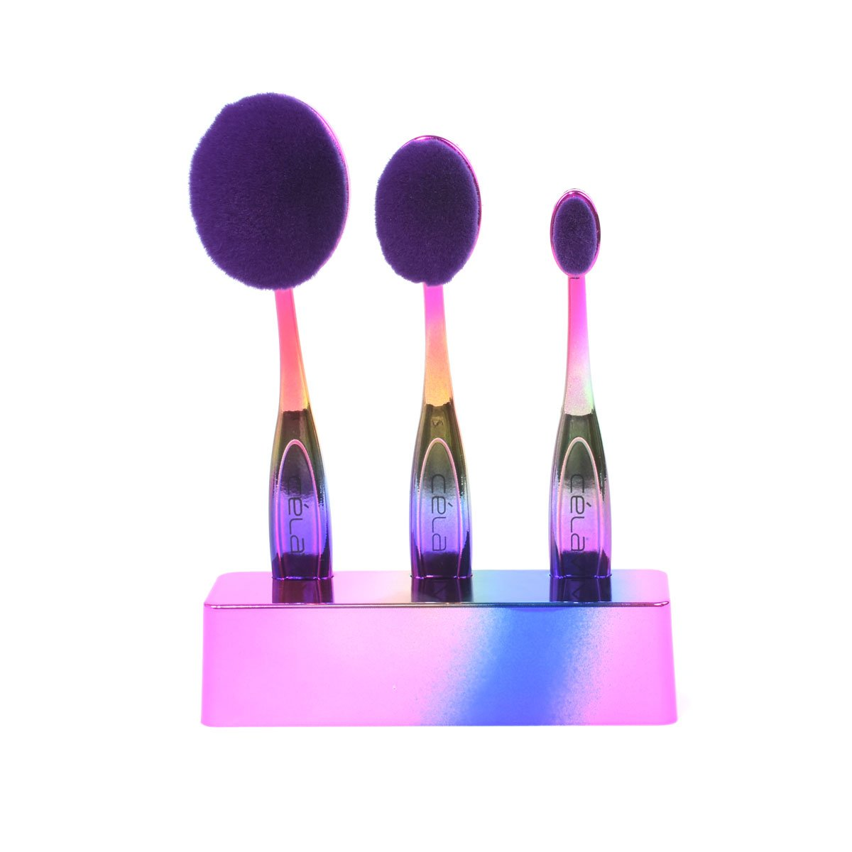 Celavi Oval Makeup Brush Professional Cosmetic Tools for Face, Foundation, Creams, Liquids, Moisturizer, Powder, Blush, Concealer, Contour-Beauty-Celavi Cosmetics-3 Brush Set-Rainbow-Celavi Cosmetics