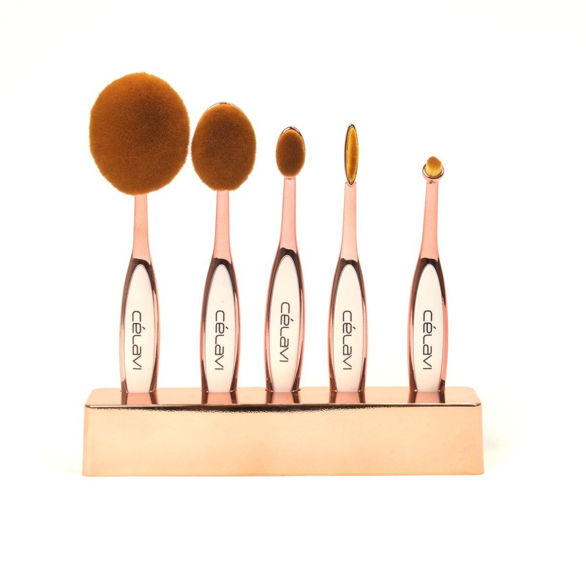 Celavi Oval Makeup Brush Professional Cosmetic Tools for Face, Foundation, Creams, Liquids, Moisturizer, Powder, Blush, Concealer, Contour-Beauty-Celavi Cosmetics-5 Brush Set-Bronze-Celavi Cosmetics